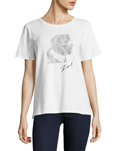 Karl Lagerfeld Paris Lace Profile Graphic Tee-WHITE-Large