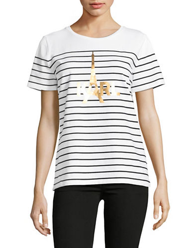 Karl Lagerfeld Paris Striped Eiffel T-Shirt-WHITE COMBO-X-Large
