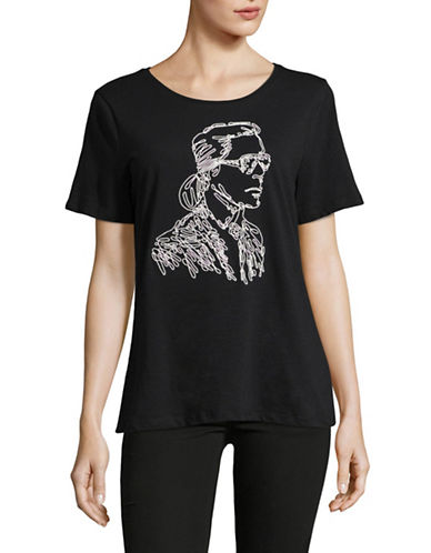 Karl Lagerfeld Paris Embroidered Karl T-Shirt-BLACK-X-Large