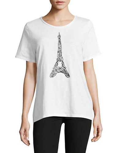 Karl Lagerfeld Paris Embroidered Eiffel Tower T-Shirt-WHITE-Large