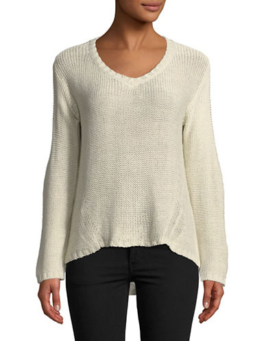 Design Lab Lord & Taylor Elbow Patch Sweater-NATURAL-X-Small