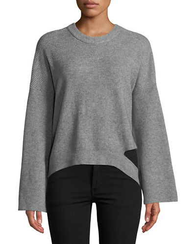 Design Lab Lord & Taylor Ripped Knit Top-GREY-X-Small