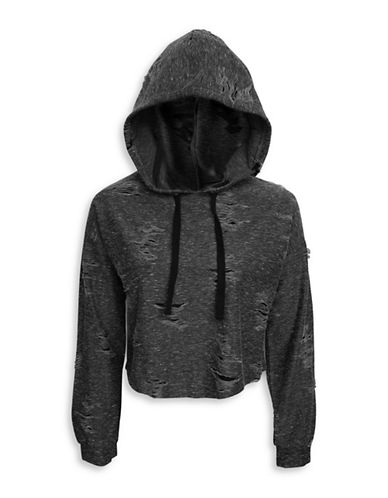 Basik Distressed Long-Sleeve Hoodie-BLACK-Medium 89972123_BLACK_Medium