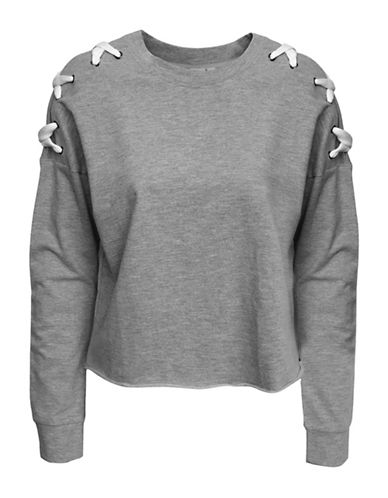 Basik Lace-Up Shoulders Sweatshirt-GREY-Medium 89972108_GREY_Medium