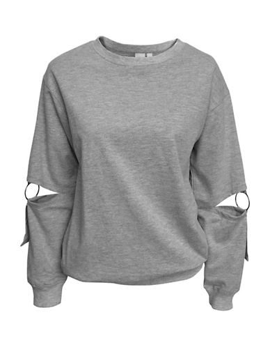 Basik O-Ring Crew Neck Sweatshirt-GREY-Medium 89972111_GREY_Medium