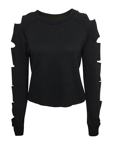 Basik Cutout Sleeve Knit Top-BLACK-Medium 89972117_BLACK_Medium