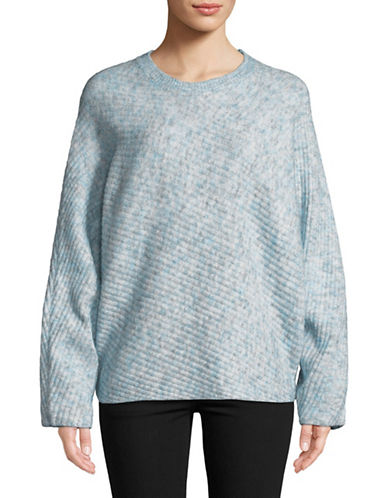 Design Lab Lord & Taylor Dolman Sleeve Diagonal Ribbed Sweater-BLUE-Large