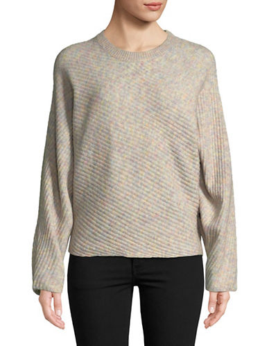 Design Lab Lord & Taylor Dolman Sleeve Diagonal Ribbed Sweater-PINK-X-Small
