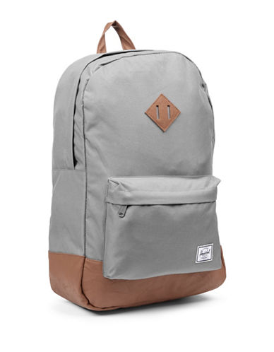 Herschel Supply Co Heritage Leather Trim Backpack-GREY-One Size