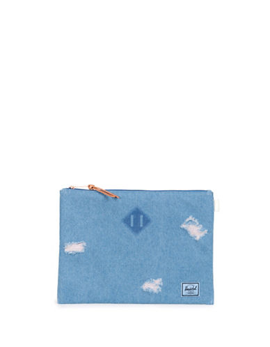 Herschel Supply Co Faded Denim Network XL Distressed Pouch-DENIM-One Size
