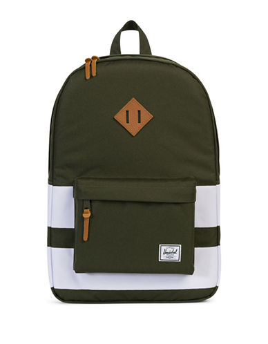 Herschel Supply Co Heritage Forest Night Rugby Stripe Backpack-GREEN-One Size