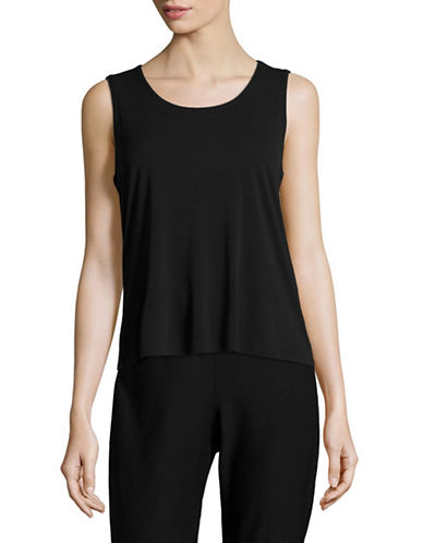 Eileen Fisher Stretch Silk Tank Top-BLACK-X-Large
