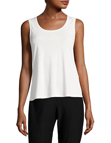 Eileen Fisher Stretch Silk Tank Top-SOFT WHITE-Large