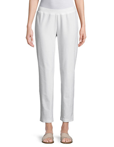 Eileen Fisher Slim-Leg Cropped Pants-WHITE-X-Small