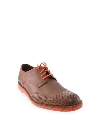 Donald J. Pliner Perforated Leather Oxfords-SADDLE-11