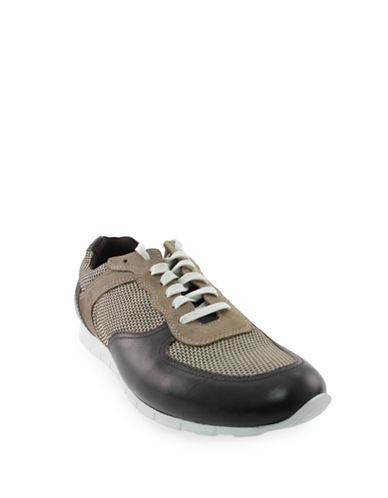 Donald J. Pliner Hanley Leather and Mesh Sneakers-BROWN-11