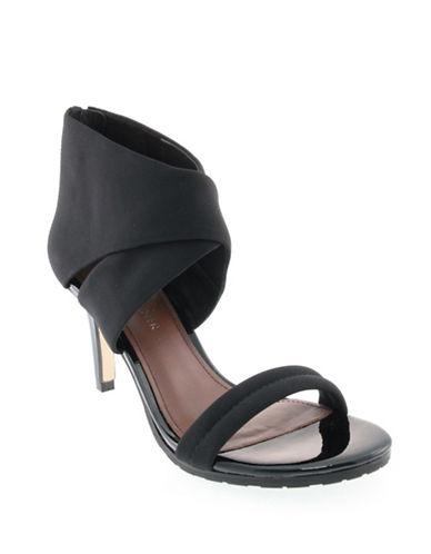 Donald J. Pliner Tilly Crisscross Crepe Sandals-BLACK-8.5