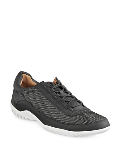 Donald J. Pliner Far Leather and Suede Sneakers-BLACK-9