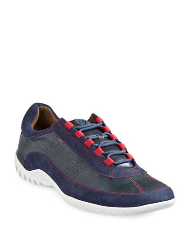 Donald J. Pliner Far Leather and Suede Sneakers-NAVY-10.5