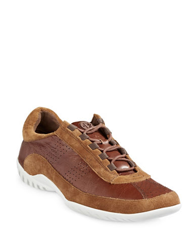 Donald J. Pliner Far Leather and Suede Sneakers-TAN-10.5