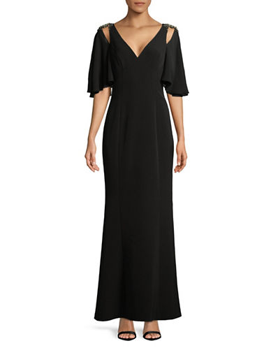Vince Camuto Chiffon Cold-Shoulder Gown-BLACK-8
