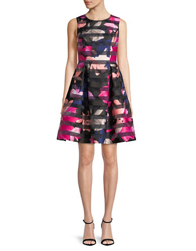 Vince Camuto Sleeveless Floral Fit and Flare Dress-MULTI-14