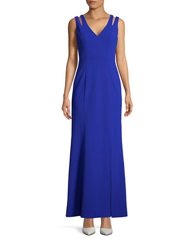 Vince Camuto V-Neck Cut-Out Shoulder Gown-BLUE-16