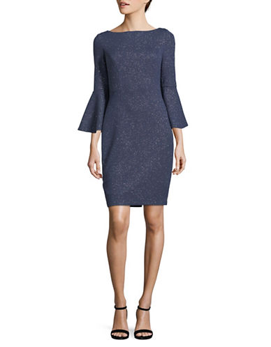 Vince Camuto Shimmer Bell-Sleeve Sheath Dress-STEEL-14