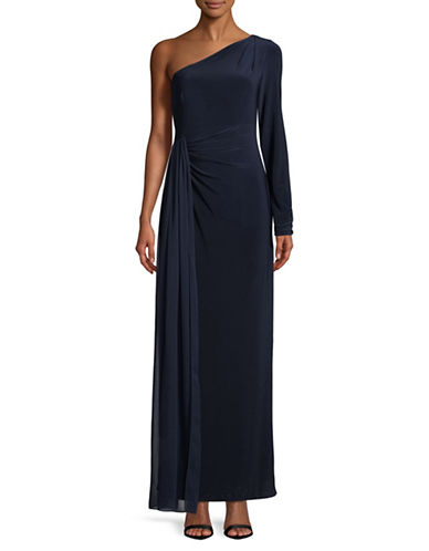 Vince Camuto Chiffon Overlay One-Shoulder Gown-NAVY-4