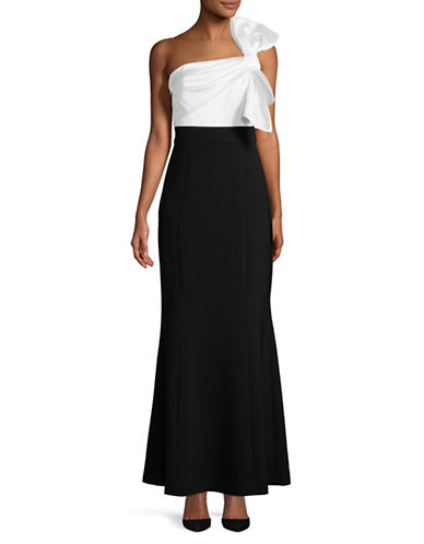 Vince Camuto One Shoulder Satin Crepe Gown-BLACK-6