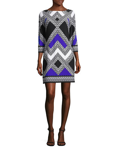 Vince Camuto Geometric-Print Three-Quarter Sleeve Dress-COBALT-10