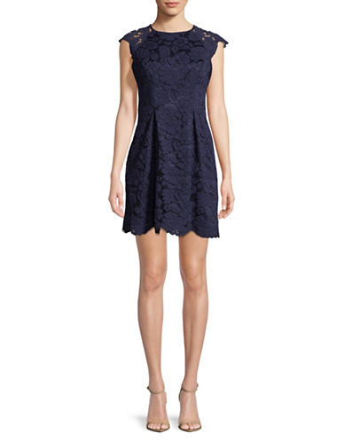 Vince Camuto Cap Sleeve Lace Dress-NAVY-12