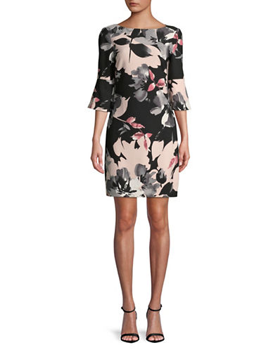 Vince Camuto Floral Scuba Crepe Sheath Dress-PINK-4