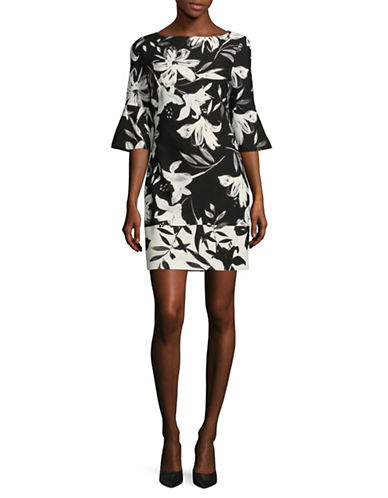 Vince Camuto Printed Flare-Sleeve Dress-BLACK/IVORY-6