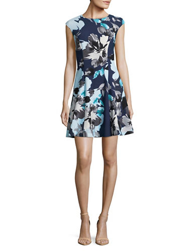 Vince Camuto Printed Fit-and-Flare Dress-BLUE-6