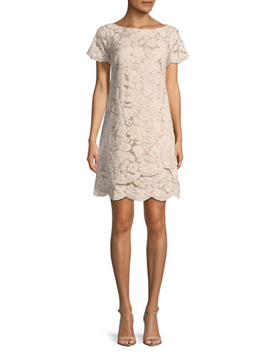 Vince Camuto Scalloped Lace Shift Dress-BLUSH-4