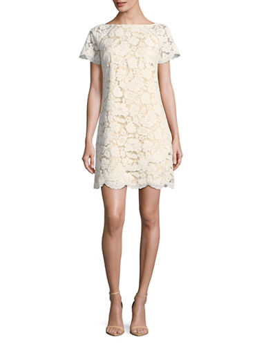 Vince Camuto Scalloped Lace Shift Dress-IVORY-4