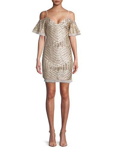 Vince Camuto Sequin Cold-Shoulder Sheath Dress-CHAMPANGE-14