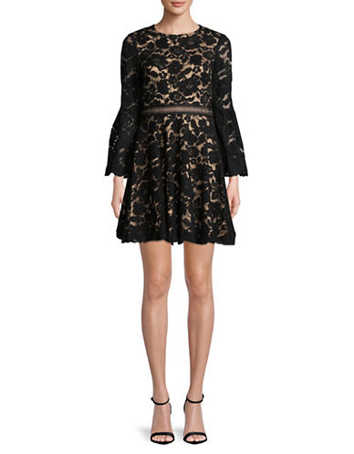 Vince Camuto Bell Sleeve Lace Dress-BLACK-8