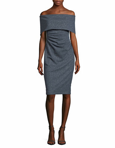 Vince Camuto Zip Off-the-Shoulder Dress-GREY-6