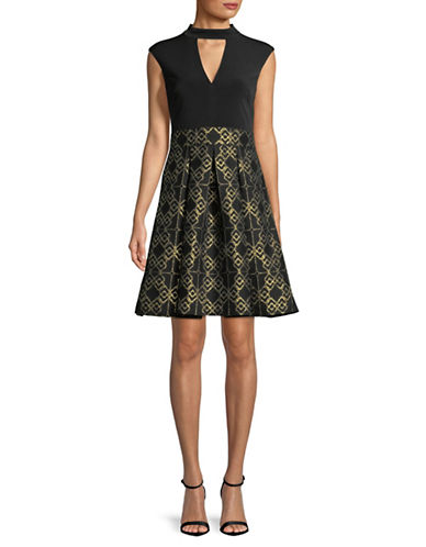 Vince Camuto Jacquard Fit-and-Flare Dress-BLACK-4