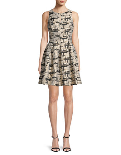 Vince Camuto Pleated Jacquard Fit-and- Flare Dress-GOLD-10