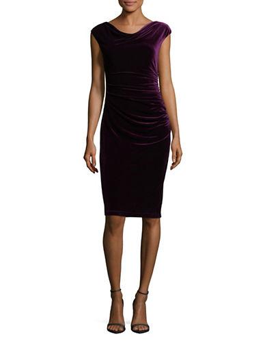Vince Camuto Ruched Velvet Bodycon Dress-PURPLE-12