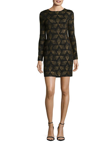 Vince Camuto Novelty Knit Sheath Dress-BLACK-12