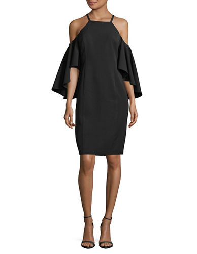 Vince Camuto Crepe Flared Cold Shoulder Dress-BLACK-10