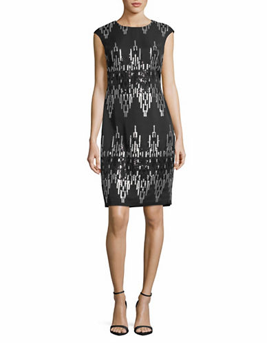 Vince Camuto Geometric Sequin Sheath Dress-BLACK-6