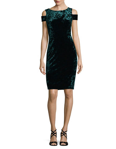 Vince Camuto Velvet Cold-Shoulder Dress-GREEN-10