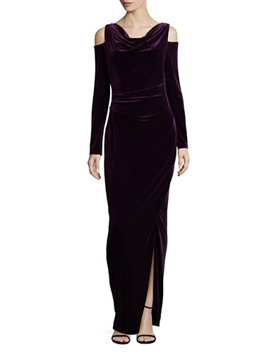 Vince Camuto Velvet Cold-Shoulder Evening Gown-PURPLE-4
