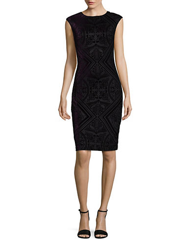 Vince Camuto Velvet Bodycon Dress-PURPLE-4