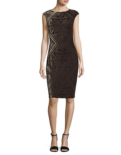 Vince Camuto Velvet Bodycon Dress-BROWN-14